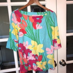 Lilly Pulitzer blouse bell quarter sleeve floral L